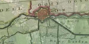 Kaart van de grietenij Dantumadeel uit de atlas van Schotanus (1718) als half-transparante overlay in Google Maps