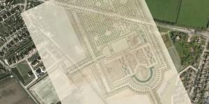 Ontwerp-tekening voor het park bij Groot Terhorne bij Bitgum uit 1625, als half-transparante overlay in Google Maps