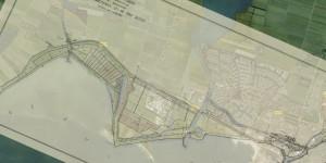 Kaart van het terrein langs de Zuiderzeekust van het waterschap De Zeven Grietenyen en de stad Sloten (Blad I) uit 1926, als half-transparante overlay in Google Maps